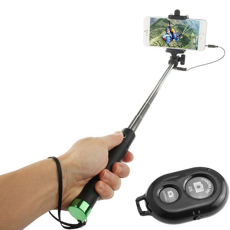 Perche télescopique selfie Bluetooth avec Télécommande / Vert
