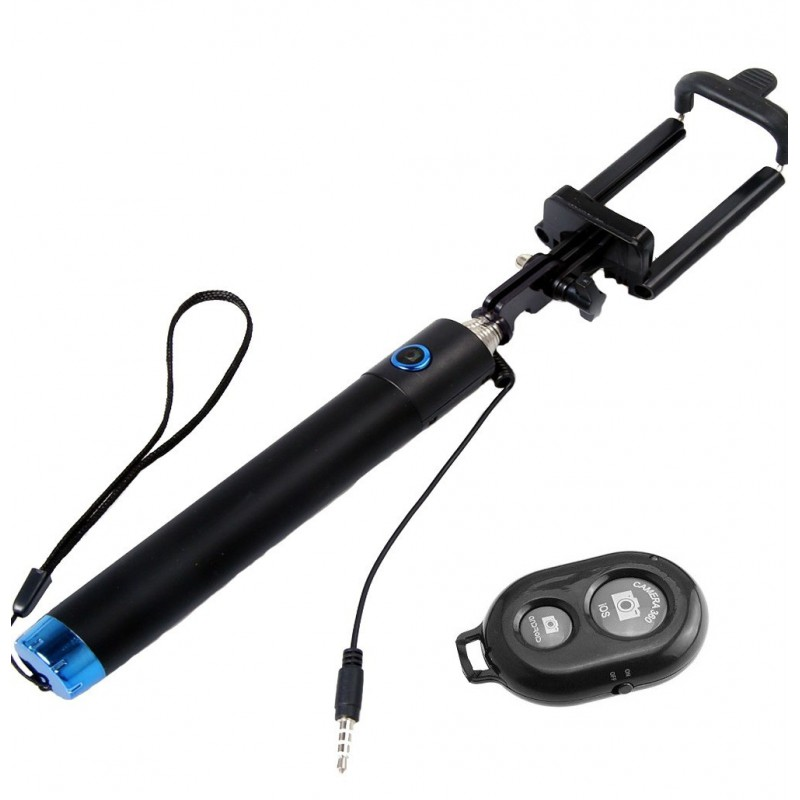 Perche télescopique selfie Bluetooth avec Télécommande / Bleu