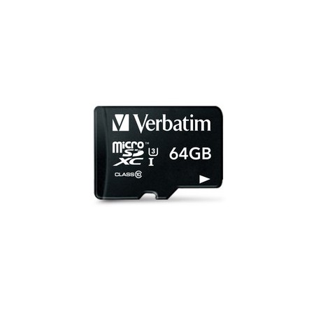 Carte Mémoire Verbatim Pro U3 Micro SDHC 64 Go Class 10 avec Adaptateur
