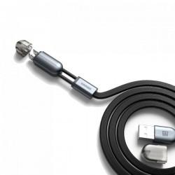 Câble Remax SameTime 2en1 USB vers MicroUSB/Lightning / Noir