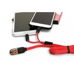 Câble Remax SameTime 2en1 USB vers MicroUSB/Lightning / Rouge