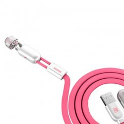 Câble Remax SameTime 2en1 USB vers MicroUSB/Lightning / Rose
