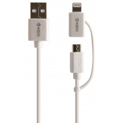 Câble KSix 2en1 USB vers Micro USB / Lightning / Blanc