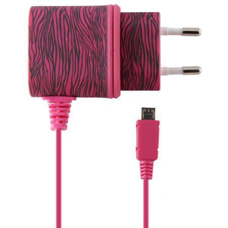 Chargeur Secteur Ksix Micro USB / Rose Zèbre