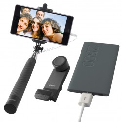 Pack Ksix : Selfie stick + Support voiture pour smartphone + Power Bank