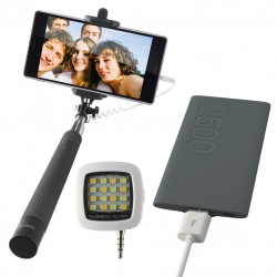 Pack Ksix : Selfie Stick + Selfie Flash + Power Bank