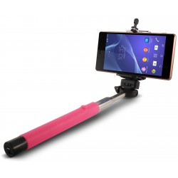 Perche télescopique selfie Ksix Bluetooth / Rose