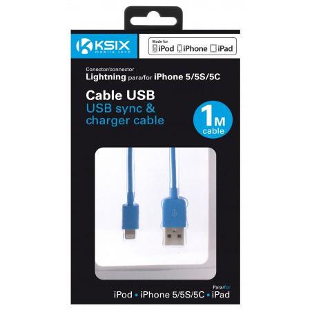 Câble Ksix USB vers Lightning 1m / Bleu
