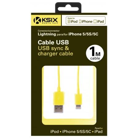 Câble Ksix USB vers Lightning 1m / Jaune