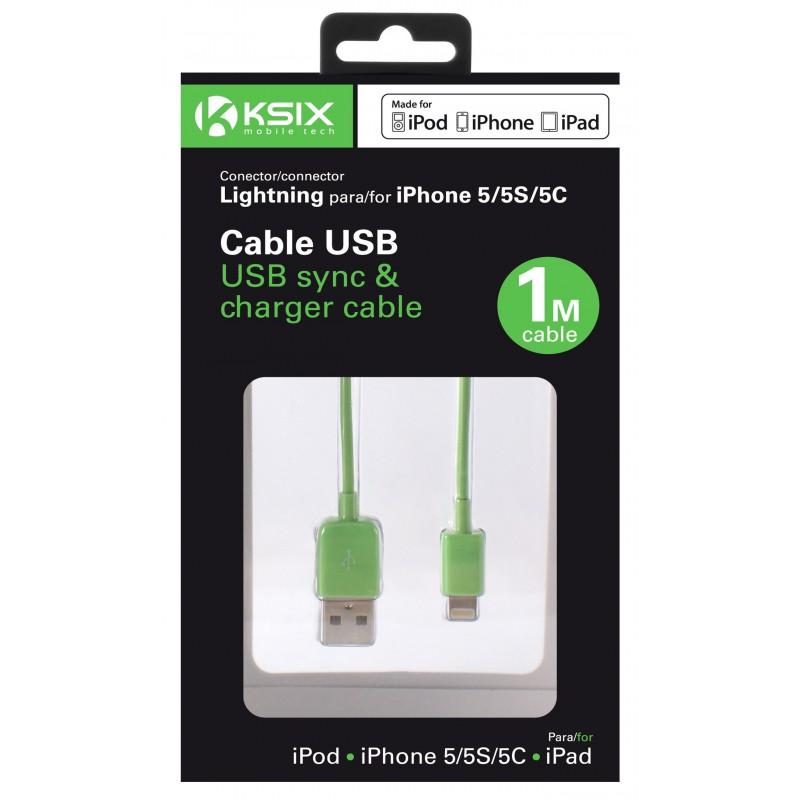 Câble Ksix USB vers Lightning 1m / Vert
