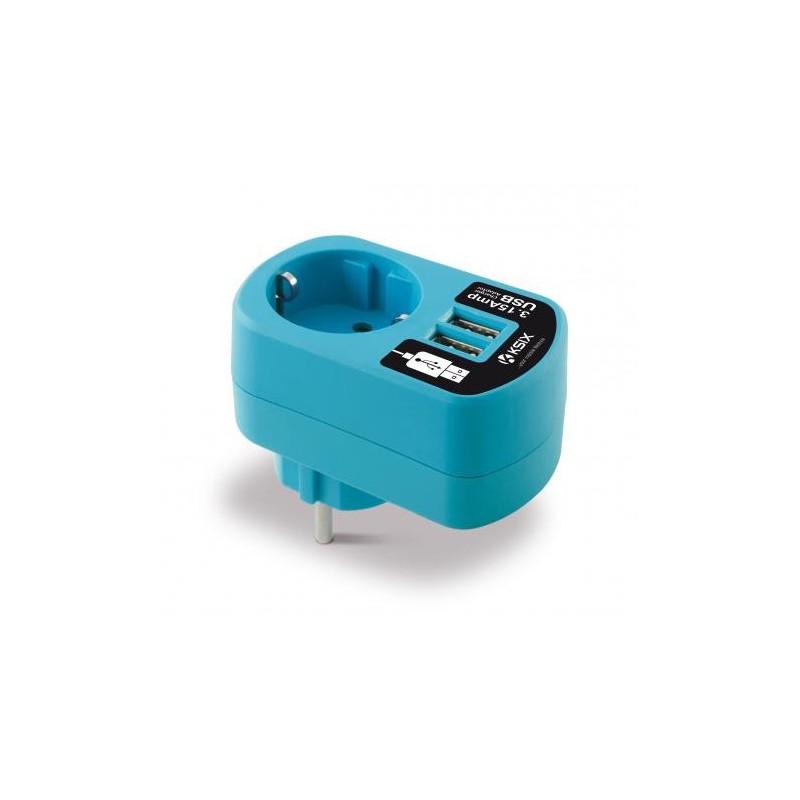 Adaptateur chargeur Ksix 3A double USB / Bleu