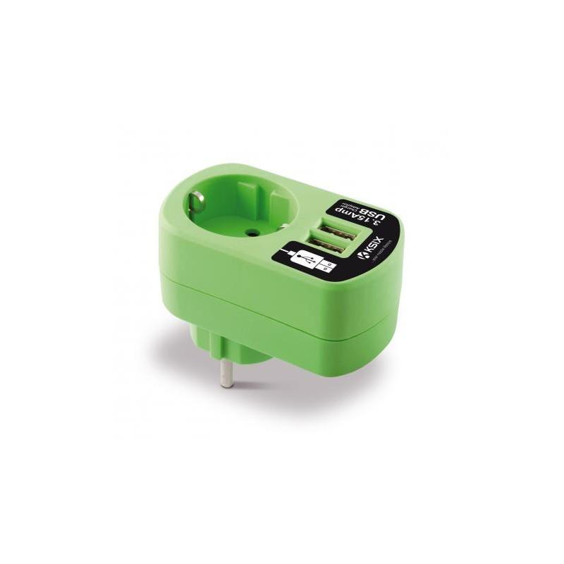 Adaptateur chargeur Ksix 3A double USB / Vert