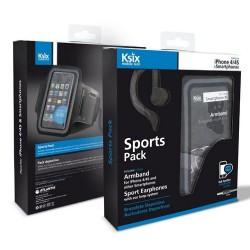 Pack Ksix: Brassard de sport pour Smartphone et écouteur pour Apple / Noir