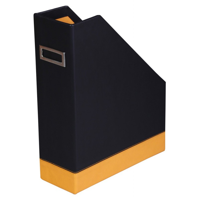 Porte Revue Rhodia en simili cuir / Noir & Orange