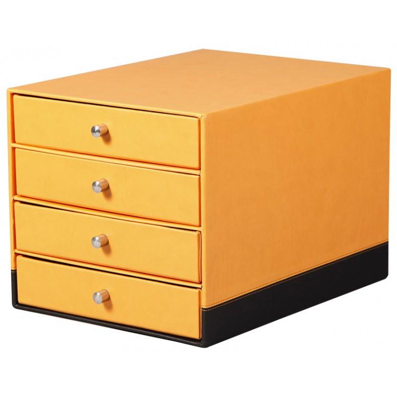 Trieur 4 tiroirs Rhodia en Simili cuir / Orange & Noir