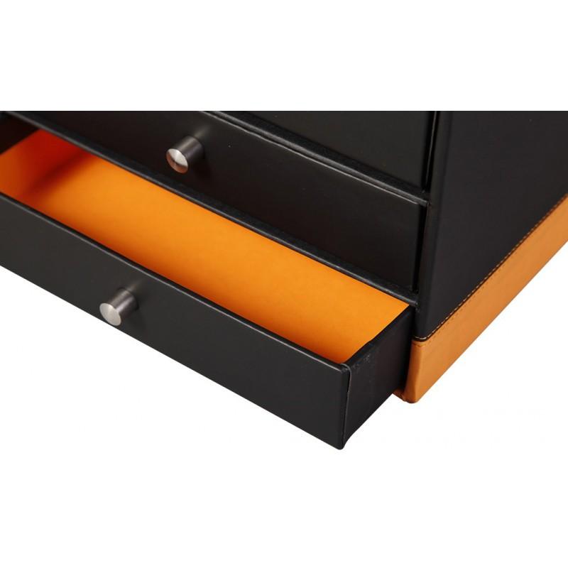 trieur 4 tiroirs rhodia en simili cuir orange noir. Black Bedroom Furniture Sets. Home Design Ideas