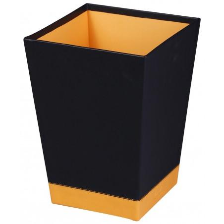 Corbeille à papier Rhodia en Simili cuir / Noir & Orange