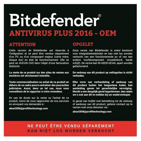 AntiVirus Plus Bitdifender 2016 OEM - 1 an / 1 Pc