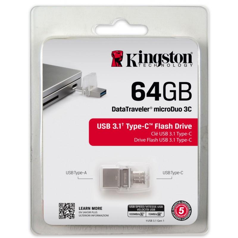 Clé USB Kingston DataTraveler microDuo 3C USB 3.1 & USB Type C / 64 Go