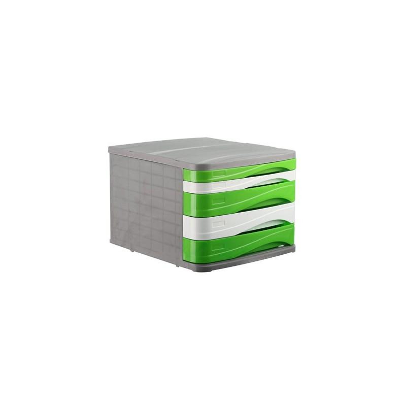 Bloc de 5 Tiroirs ARK Gris/Blanc/Vert