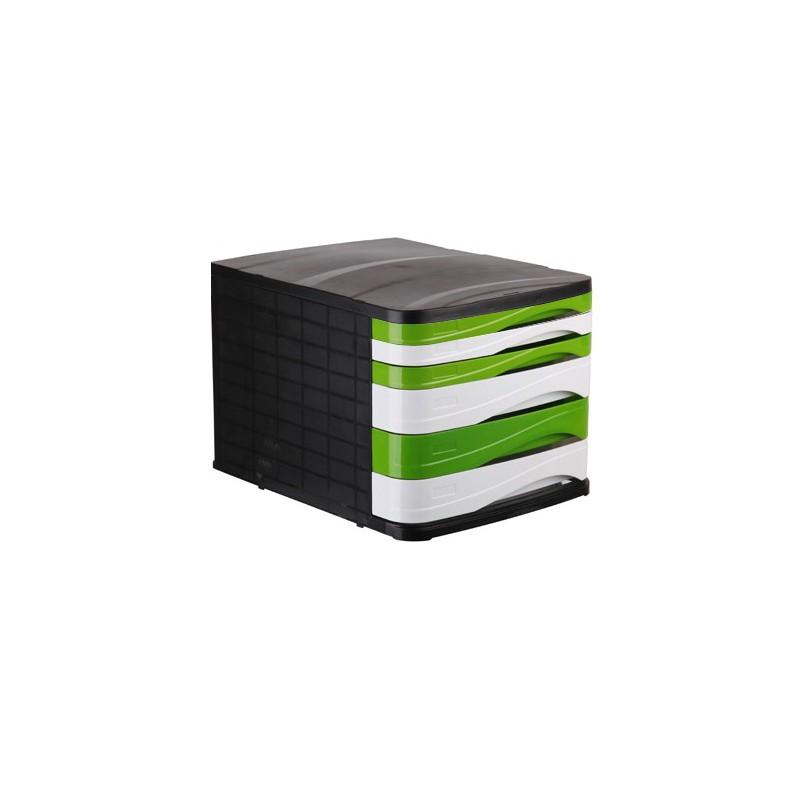 Bloc de 6 Tiroirs ARK Noir/Blanc/Vert