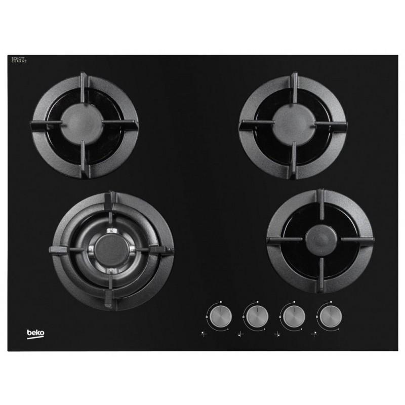 Plaque de cuisson encastrable Beko 4 Feux 70cm / Verre Noir
