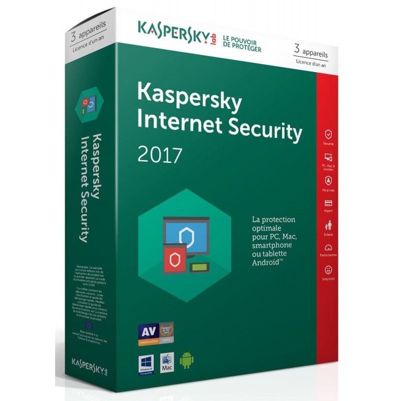 Kaspersky Internet Security 2017 - 1 an / 3 Pcs