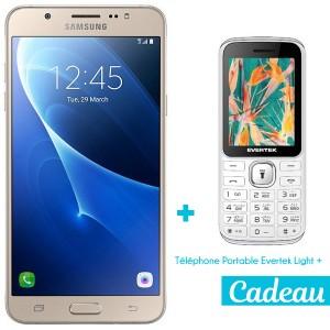 Téléphone Portable Samsung Galaxy J7 2016 / 4G / Double SIM / Gold + SIM Offerte + Téléphone Portable