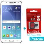 Téléphone Portable Samsung Galaxy J7 / 4G / Double SIM / Blanc + SIM Offerte + Carte Mémoire 32Go