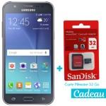 Téléphone Portable Samsung Galaxy J7 / 4G / Double SIM / Noir + SIM Offerte + Carte Mémoire 32Go