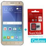 Téléphone Portable Samsung Galaxy J7 / 4G / Double SIM / Gold + SIM Offerte + Carte Mémoire 32Go