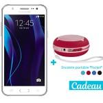 Téléphone Portable Samsung Galaxy J5 / 4G / Double SIM / Blanc + SIM Offerte + Enceinte portable