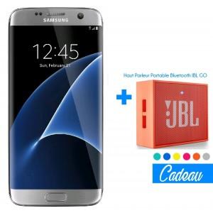 Téléphone Portable Samsung Galaxy S7 Edge / Double SIM / Silver + SIM Offerte + Haut Parleur Bluetooth