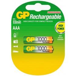 2x Piles GP Rechargeable NiMH AAA 1000 Series 950 mAh