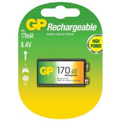 Pile GP Rechargeable NiMH 9V 170 Series 170 mAh