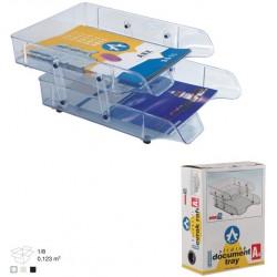 Corbeille à courrier en plastique 2 étages / Transparent