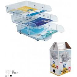 Corbeille à courrier en plastique 3 étages / Transparent