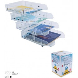 Corbeille à courrier en plastique 4 étages / Transparent