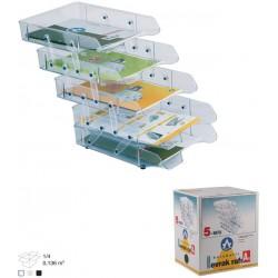Corbeille à courrier en plastique 5 étages / Transparent