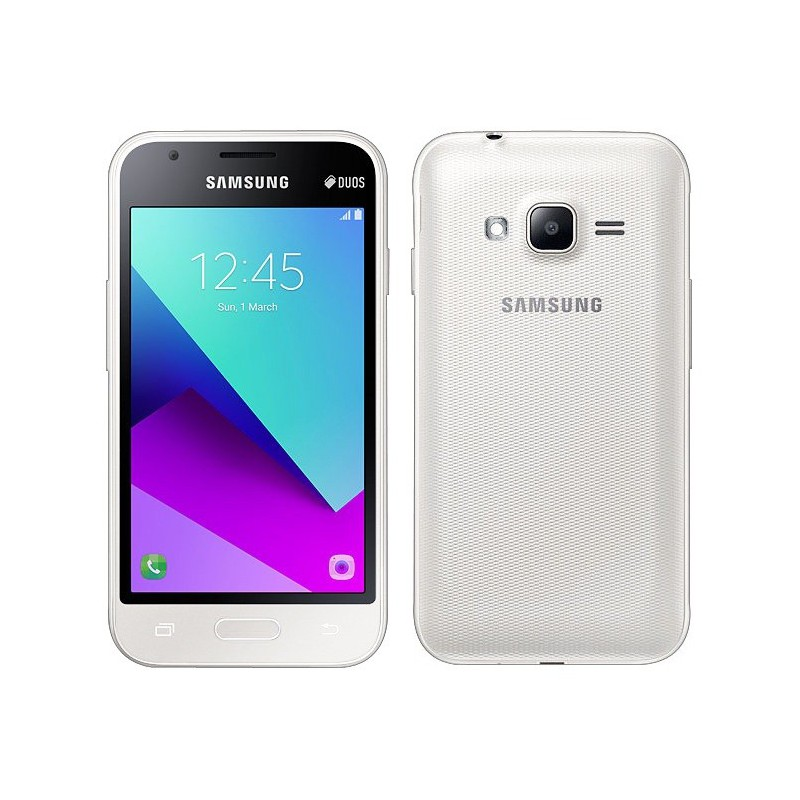 t l phone portable samsung galaxy j1 mini prime 3g double sim blanc sim offerte. Black Bedroom Furniture Sets. Home Design Ideas