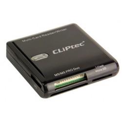 Lecteur de cartes Cliptec 6 Fentes USB 2.0 / Noir