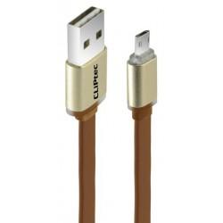 Câble plat CLiPtec TITANIUM II Reversible USB vers Micro-USB / Marron
