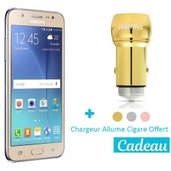 Téléphone Portable Samsung Galaxy J5 2016 / 4G / Double SIM / Gold  + SIM Offerte + Chargeur Allume Cigare Offert