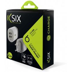 Chargeur secteur Ksix 2 USB / Blanc