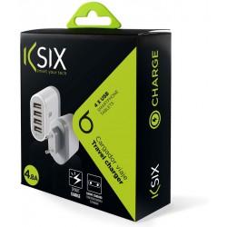 Chargeur secteur Ksix 4 USB / Blanc