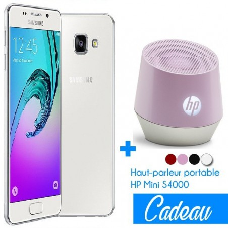 Téléphone Portable Samsung Galaxy A3 / 4G / Double SIM / Blanc + SIM Offerte + Haut-parleur portable HP