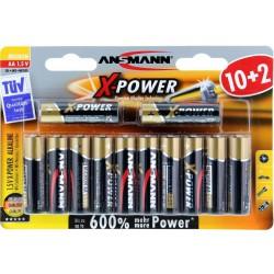12x Piles Ansmann X-Power Alcaline Mignon AA / LR6 / 1.5V