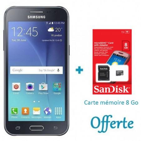 Téléphone Portable Samsung Galaxy J2 / 4G / Double SIM / Noir + SIM Offerte + Carte Mémoire 8Go