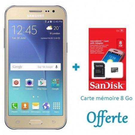 Téléphone Portable Samsung Galaxy J2 / 4G / Double SIM / Gold + SIM Offerte + Carte Mémoire 8Go
