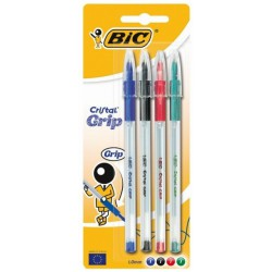 4x Stylos à bille BIC Cristal Grip 1.0 mm